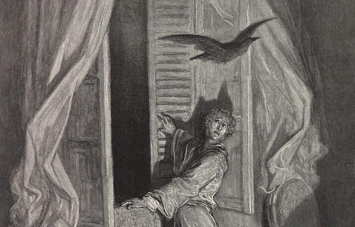 Gustave Dore ilustrație la Corbul de E. A. Poe